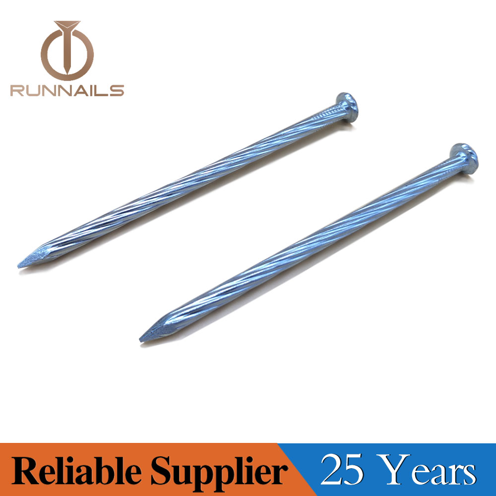 Galvanized Spiral Concrete Steel Nails, Taiwan Quality, Shine Bright Zinc Surface, with P Head, Diamond Point, 25 Years Professional Manufacturer